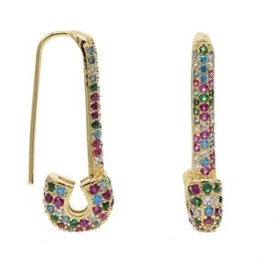 Gold Colorful Stones Safety Pin Earrings